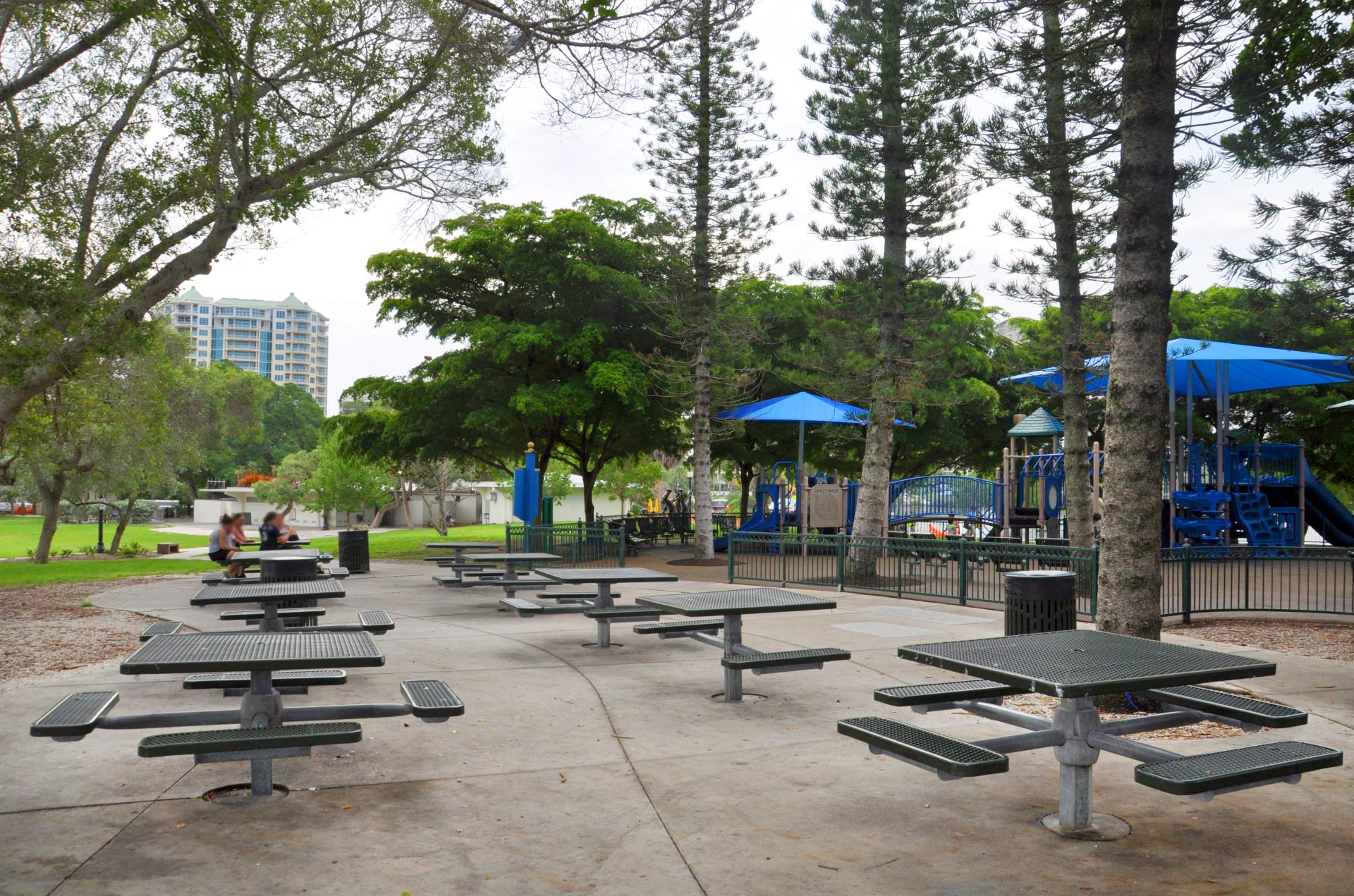 Bayfront Park picnic area by playground