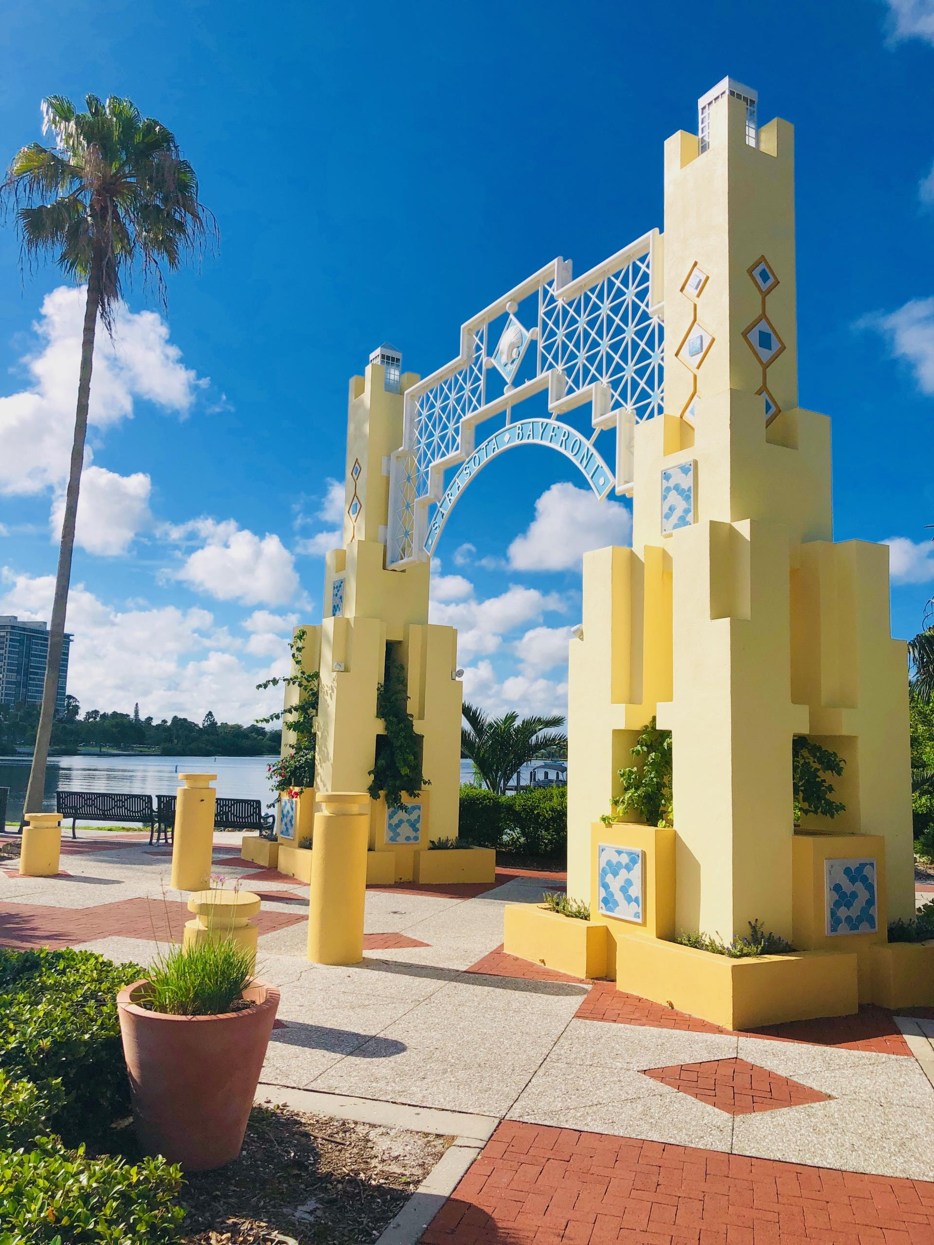 Bayfront Park arch repaired new yellow paint