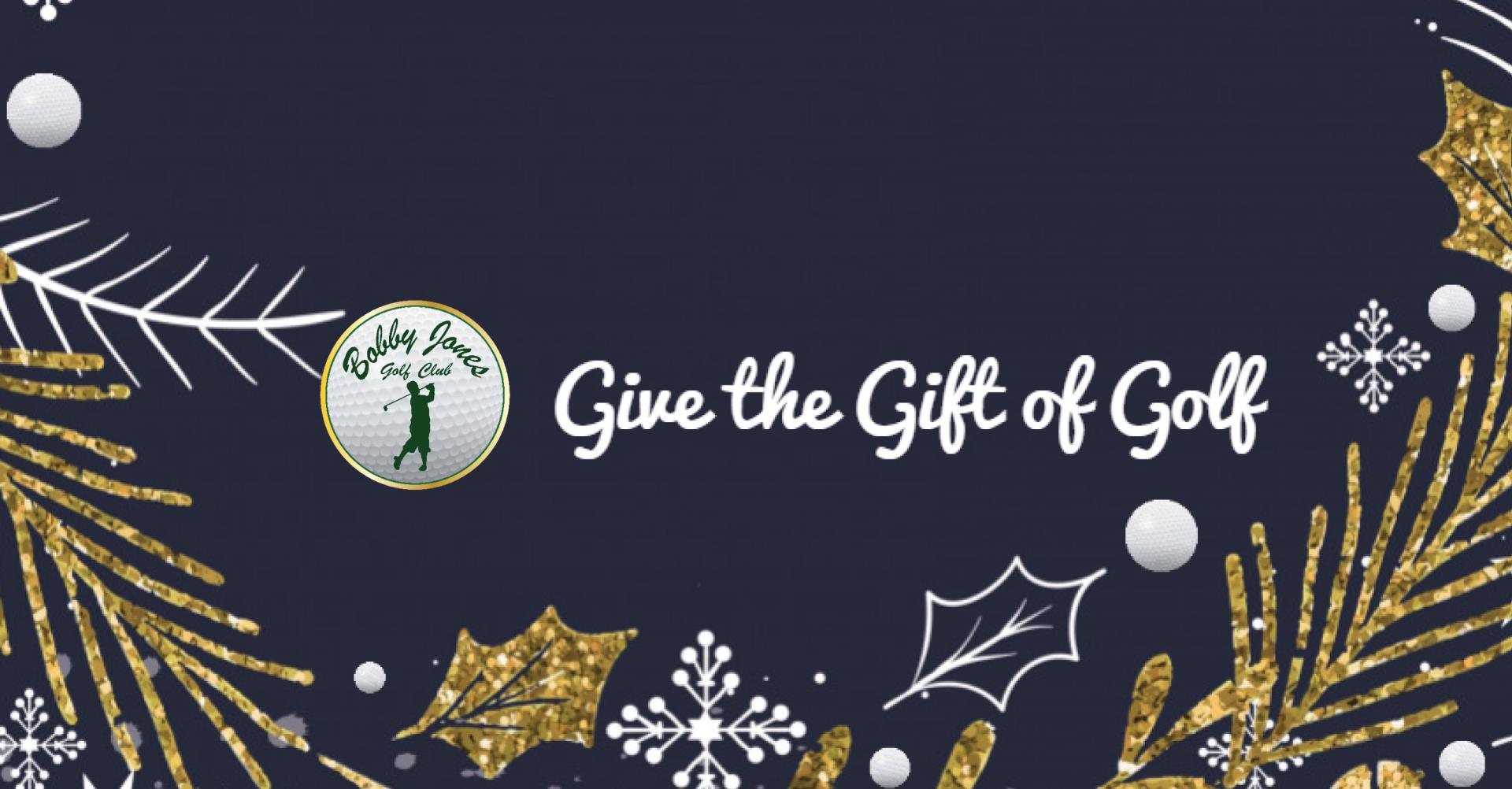 Give the gift of golf this holiday season with bobby jones gift cards. Logo with bobby jones in green. Dark blue backgroud with a wreath of gofl balls, holy and snowflakes in roatating gold and white.
