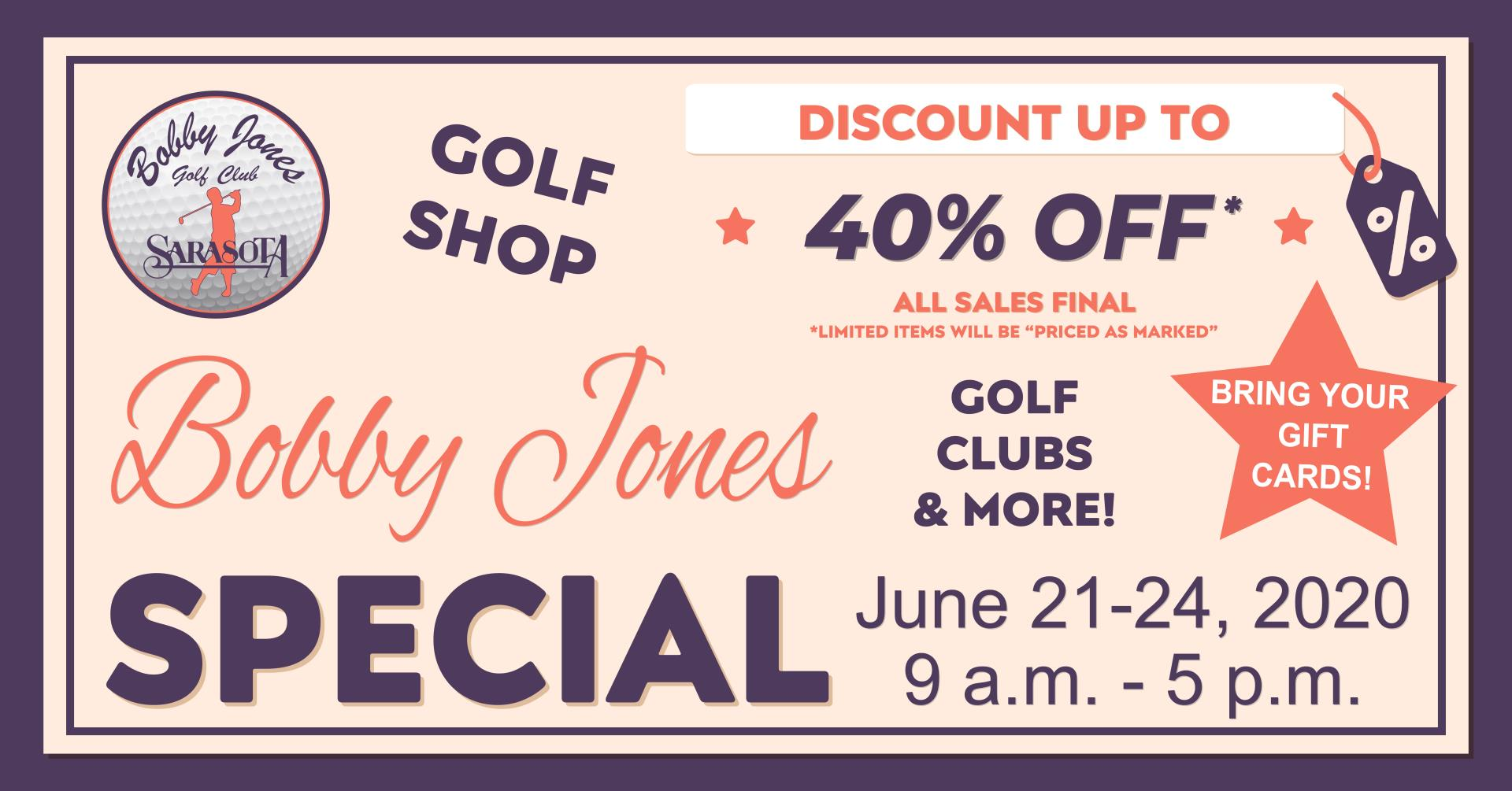 Bobby jones 40 % off Special