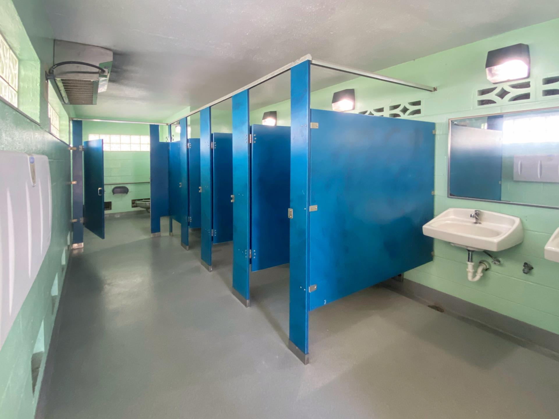 Blue partitions with bathroom stalls and sinks